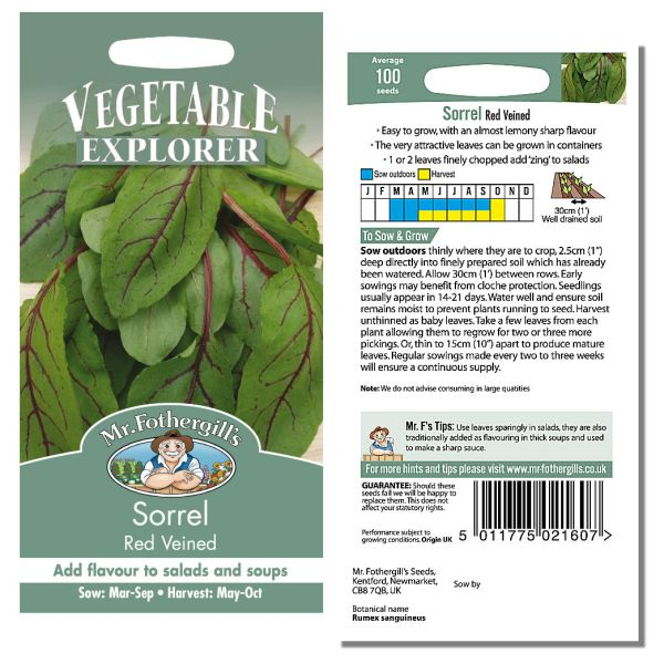 Mr. Fothergill Sorrel Red Veined Seeds available from Strawberry Garden Centre, Uttoxeter