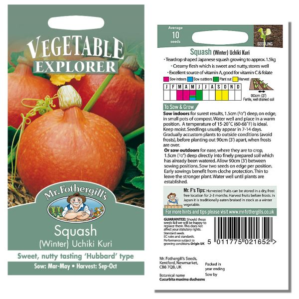 Mr. Fothergill Squash (winter) Uchiki Kuri Seeds available from Strawberry Garden Centre, Uttoxeter