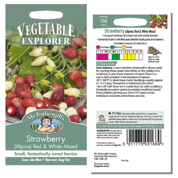 Mr. Fothergill Strawberry (alpine) Red & White Mixed Seeds available from Strawberry Garden Centre, Uttoxeter