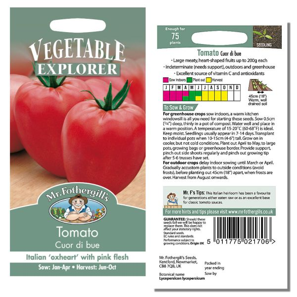 Mr. Fothergill Tomato Cuor di bue Seeds available from Strawberry Garden Centre, Uttoxeter