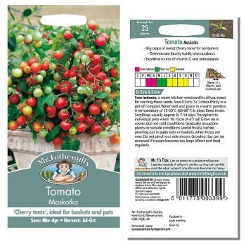 Mr. Fothergill Tomato Maskotka Seeds available from Strawberry Garden Centre, Uttoxeter