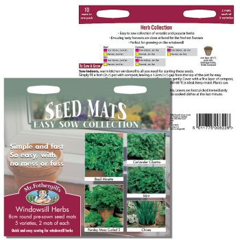 Mr. Fothergill Windowsill Herbs Seed Mat Collection available from Strawberry Garden Centre, Uttoxeter