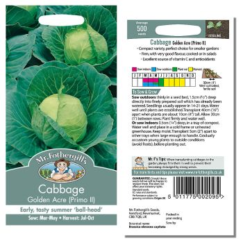 Mr. Fothergill Cabbage Golden Acre Primo II Seeds available from Strawberry Garden Centre, Uttoxeter