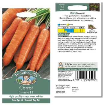Mr. Fothergill Carrot Extremo F1 Seeds available from Strawberry Garden Centre, Uttoxeter