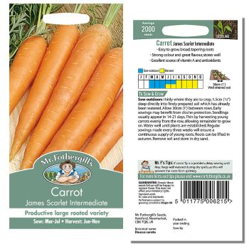Mr. Fothergill Carrot James Scarlet Intermediate Seeds available from Strawberry Garden Centre, Uttoxeter