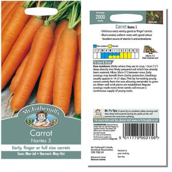 Mr. Fothergill Carrot Nantes 5 Seeds available from Strawberry Garden Centre, Uttoxeter