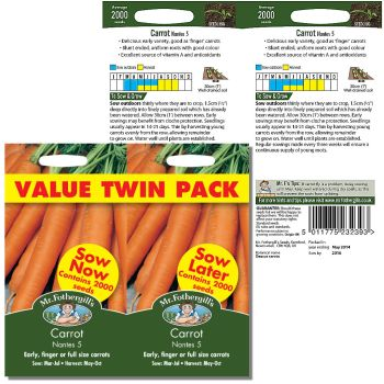 Mr. Fothergill Carrot Nantes 5 value twin pack Seeds available from Strawberry Garden Centre, Uttoxeter