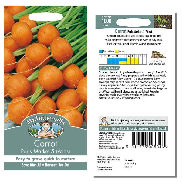 Mr. Fothergill Carrot Paris Market 5 (Atlas) Seeds available from Strawberry Garden Centre, Uttoxeter