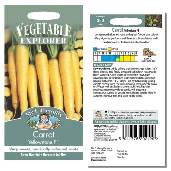 Mr. Fothergill Carrot Yellowstone F1 Seeds available from Strawberry Garden Centre, Uttoxeter