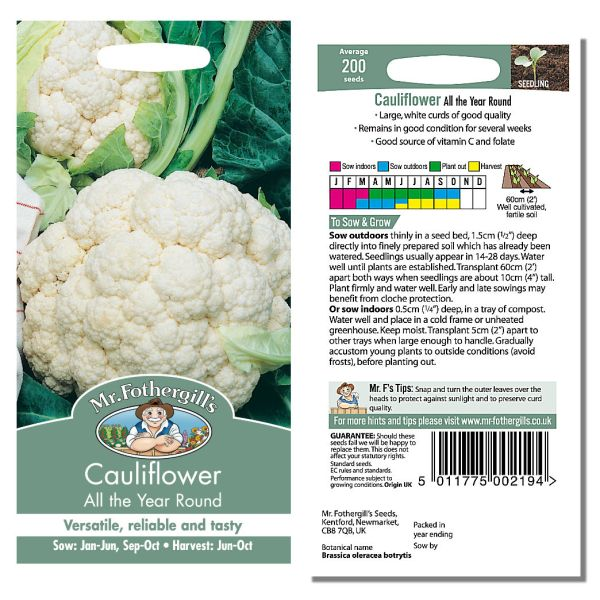 Mr. Fothergill Cauliflower All the Year Round Seeds available from Strawberry Garden Centre, Uttoxeter