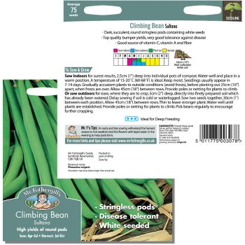 Mr. Fothergill Climbing Bean Sultana Seeds available from Strawberry Garden Centre, Uttoxeter