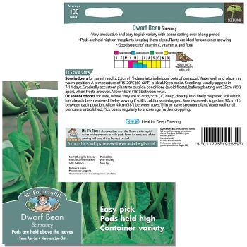 Mr. Fothergill Dwarf Bean Sansoucy Seeds available from Strawberry Garden Centre, Uttoxeter