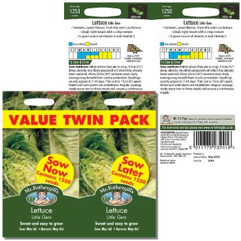 Mr. Fothergill Lettuce Little Gem value twin pack Seeds available from Strawberry Garden Centre, Uttoxeter