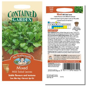 Mr. Fothergill Mixed Mild Salad Leaves Seeds available from Strawberry Garden Centre, Uttoxeter