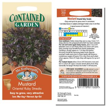 Mr. Fothergill Mustard Oriental Ruby Streaks Seeds available from Strawberry Garden Centre, Uttoxeter