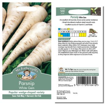Mr. Fothergill Parsnip White Gem Seeds available from Strawberry Garden Centre, Uttoxeter