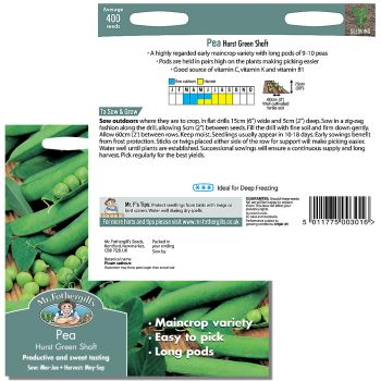 Mr. Fothergill Pea Hurst Green Shaft Seeds available from Strawberry Garden Centre, Uttoxeter