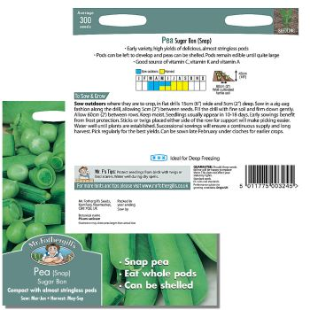 Mr. Fothergill Pea (snap) Sugar Bon Seeds available from Strawberry Garden Centre, Uttoxeter