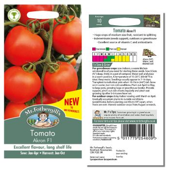 Mr. Fothergill Tomato Akron F1 Seeds available from Strawberry Garden Centre, Uttoxeter