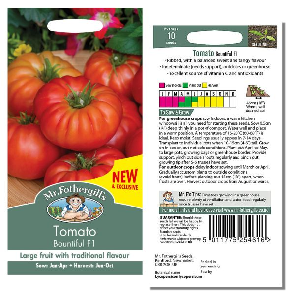 Mr. Fothergill Tomato Bountiful F1 Seeds available from Strawberry Garden Centre, Uttoxeter