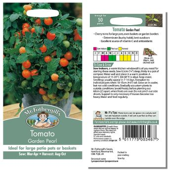 Mr. Fothergill Tomato Garden Pearl Seeds available from Strawberry Garden Centre, Uttoxeter