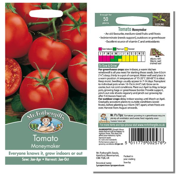 Mr. Fothergill Tomato Moneymaker Seeds available from Strawberry Garden Centre, Uttoxeter