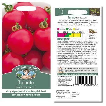 Mr. Fothergill Tomato Pink Charmer F1 Seeds available from Strawberry Garden Centre, Uttoxeter