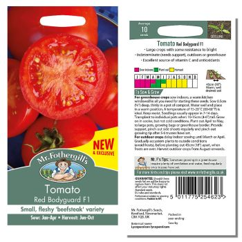 Mr. Fothergill Tomato Red Bodyguard F1 Seeds available from Strawberry Garden Centre, Uttoxeter