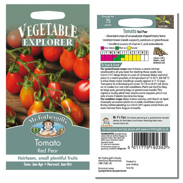 Mr. Fothergill Tomato Red Pear Seeds available from Strawberry Garden Centre, Uttoxeter