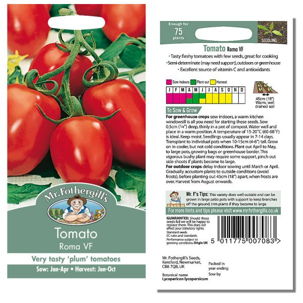 Mr. Fothergill Tomato Roma VF Seeds available from Strawberry Garden Centre, Uttoxeter