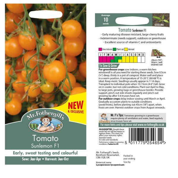 Mr. Fothergill Tomato Sunlemon F1 Seeds available from Strawberry Garden Centre, Uttoxeter