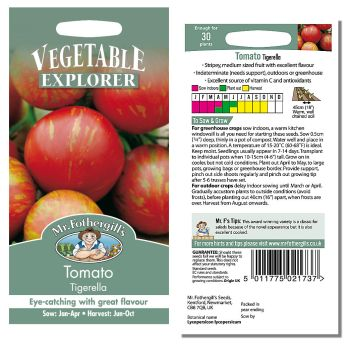 Mr. Fothergill Tomato Tigerella Seeds available from Strawberry Garden Centre, Uttoxeter