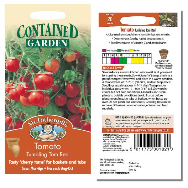 Mr. Fothergill Tomato Tumbling Tom Red Seeds available from Strawberry Garden Centre, Uttoxeter