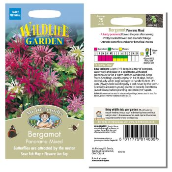 Mr. Fothergill Bergamot Panorama Mixed Seeds available from Strawberry Garden Centre, Uttoxeter