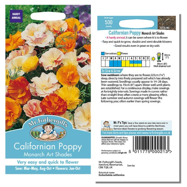 Mr. Fothergill Californian Poppy Monarch Art Shades Seeds available from Strawberry Garden Centre, Uttoxeter