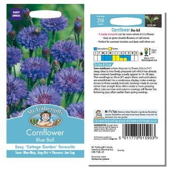 Mr. Fothergill Cornflower Blue Ball Seeds available from Strawberry Garden Centre, Uttoxeter