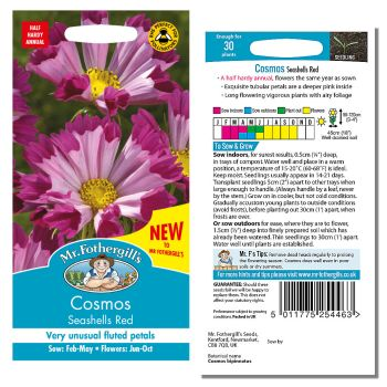 Mr. Fothergill Cosmos Seashells Red Seeds available from Strawberry Garden Centre, Uttoxeter