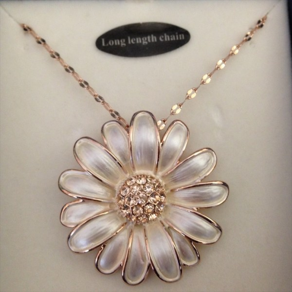 Equilibrium 274420 Rose Gold Plated Long Chain Daisy Necklace available from Strawberry Garden Centre, Uttoxeter