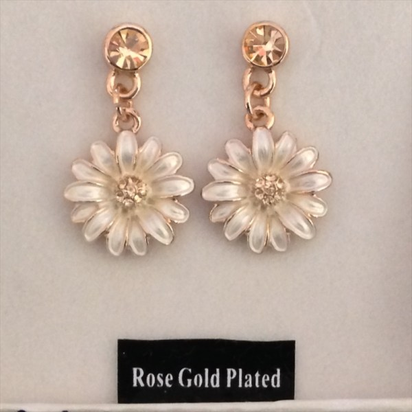 Equilibrium 274424 Rose Gold Plated Daisy Earrings available from Strawberry Garden Centre, Uttoxeter
