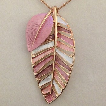 Equilibrium 274551A Rose Gold Plated Dusky Tones Leaves Necklace available from Strawberry Garden Centre, Uttoxeter