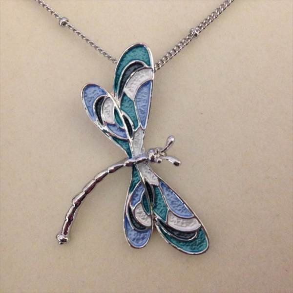 Equilibrium 274564 Marine tones dragonfly necklace available from Strawberry Garden Centre, Uttoxeter