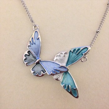 Equilibrium 274564B marine tones butterfly necklace available from Strawberry Garden Centre, Uttoxeter