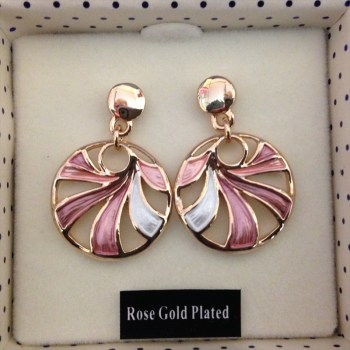 Equilibrium 274661 Rose Gold Plarted dusky tones swirl earrings available from Strawberry Garden Centre, Uttoxeter