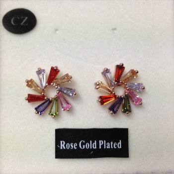 Equilibrium 274735 rose gold plated colourful earrings available from Strawberry Garden Centre, Uttoxeter