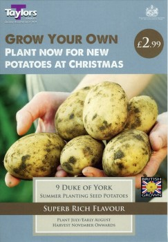 Taylors Bulbs Autumn Planting Seed Potatoes Duke of York available from Strawberry Garden Centre, Uttoxeter