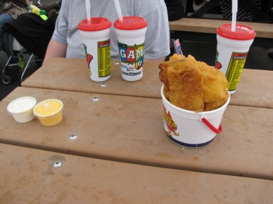 The Australian Battered Potatoes...in a small bucket...