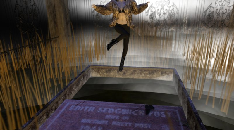Photo of Edie Sedgwick hovering over her grave site.