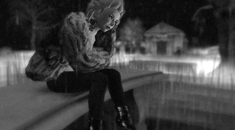 black-and-white night-photography of Edie Sedgwick sitting on a bench in the rain at Second Afterlife Cemetery