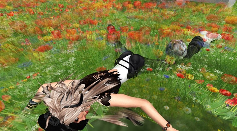 Vanessa Blaylock lying prostrate in a field of flowers.