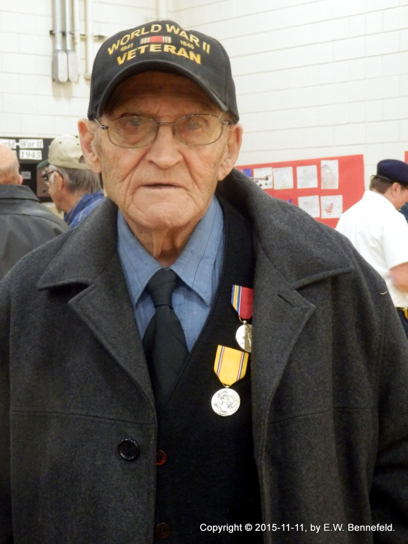 Ready to head home, wearing his medals